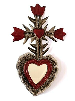 Small Mexican Folk Art Tin Winged Heart & Mirror Natural Tin Antiqued Patina #06