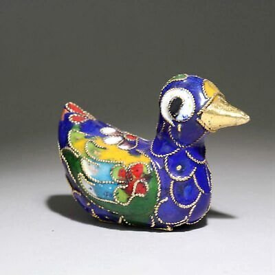 Collectable China Old Cloisonne Hand-Carved Lovely Duck Delicate Decorate Statue