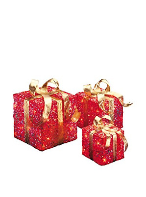 National Tree Set of 3 Assorted Red Sisal Gift Boxes with Clear Lights