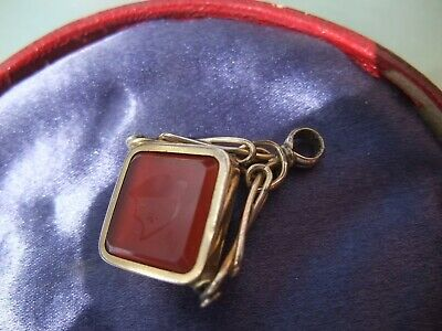 VICTORIAN SWIVEL POCKET WATCH FOB with Carnelian and Bloodstone Inserts