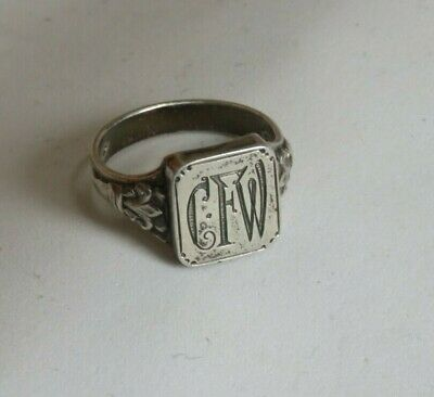 """Victorian Initial Ring Jewelry 800 Silver """"CFW"""" (468B)"""