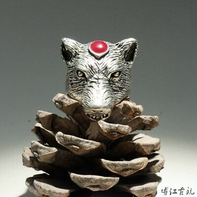 Collectable China Old Miao Silver Hand-Carved Wolf Delicate Unique Noble Ring