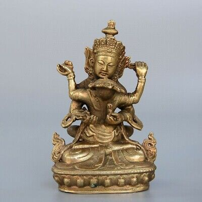 Collectable China Old Bronze Hand-Carved Happy Buddha Buddhism Delicate Statue