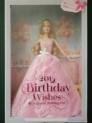 Mattel Barbie 2015 Birthday Wishes Collectors Doll Pink Label New