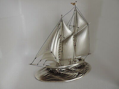 Stunning Large Solid Sterling Silver Yacht Ship Sailboat Yacht 225 Grams 7.95 Oz