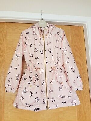 H & M Girl's Dusky Pink Patterned Lightweight Jacket Age 6-7 Yrs Ex Condition