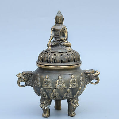 Collect China Old Bronze Hand-Carved Eighteen Arhat & Kwan-Yin Auspicious Censer