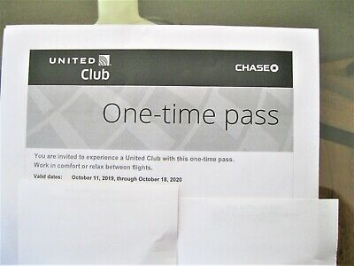 United Airlines Club (2) One-Time Pass Expires 10-18-20 Free Shipping