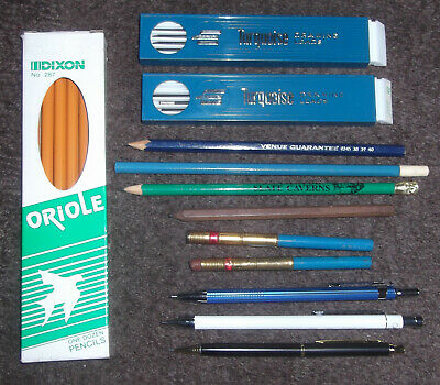 JOBLOT OF VINTAGE, ETC PENCILS incl MECHANICAL / PROPELLING / PENCIL LEADS,BOXED