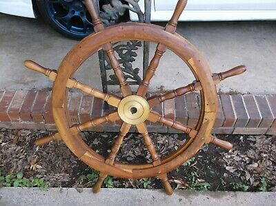 Vintage 42 1/2 Inch 8 Spoke Brass And Wood Ships Wheel