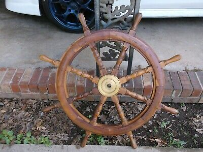 Vintage 36 Inch 8 Spoke Brass And Wood Ships Wheel