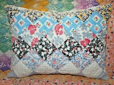 NEW Lumbar Pillow Made From Vintage 1930's Postage Stamp Handmade Quilt PS1216-B