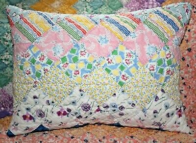 NEW Lumbar Pillow Made From Vintage 1930's Postage Stamp Handmade Quilt PS1216-2