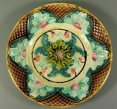 Antique Victorian French Majolica Flowers Art Nouveau Wall Plate c1890