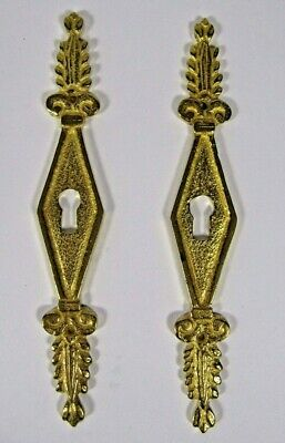 Brass Key Hole Plate Pair French Escutcheon Antique Gilt Door Pediment Empire