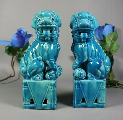 Antique Vintage Chinese Export Shiwan Pottery Blue Turquoise Foo Dog PAIR Lions