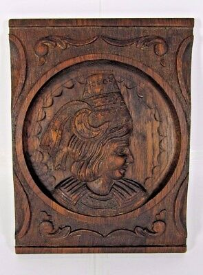 Breton Oak Wood Panel Wall Pediment Hand Carved French Portrait Salvage Antique