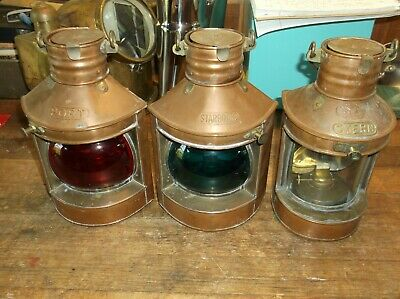 3 Vintage Tung Woo Brass Oil Burning Ship's Running Lights Port,Starboard & Aft