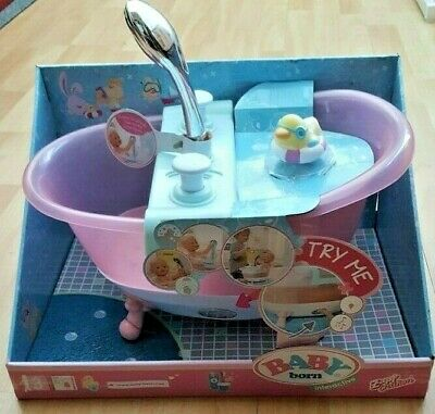 Used Boxed Zapf Creation BABY Born Pink Interactive Bathtub with Foam/ Sounds