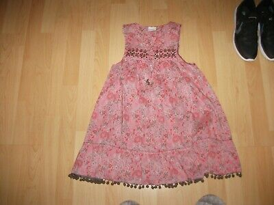 Next Girls Stunning Pink/Red Floral Paisley Beaded Pompom Edge Dress Age 8 Yrs