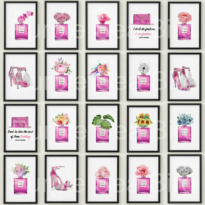 A4 Coco Chanel Perfume Bottle Bag Shoes Print Wall Art Room Pink Poster Glitter