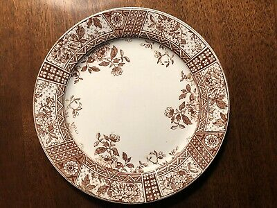 Antique Challinor & Mayer Patterned Brown and White Transferware Plate England