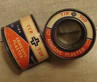 Vintage Advertising Tin-TIP TOP ADHESIVE PLASTER-First Aid-Medical Tape Can