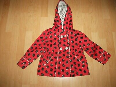 Tu Girls Red/Black  🙀 Print Fleece Teddy Lined Hooded Raincoat Age 2-3 Yrs Vgc