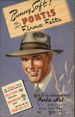 1940's Hat Advertising: Bunny Soft! The New Portis Firma-Felts Teich Postcard