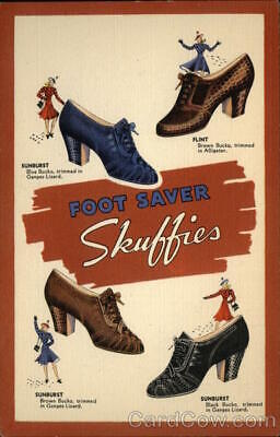 Skuffies Foot Saver Shoe Advertising 1940's Teich Linen Postcard Vintage