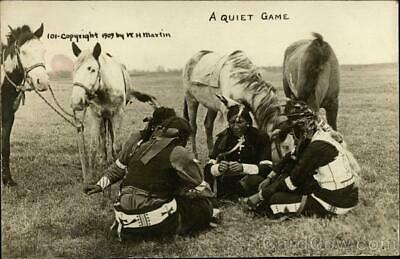 """RPPC W. H. Martin """"A Quiet Game"""" Native American Indians,Horses Postcard Vintage"""