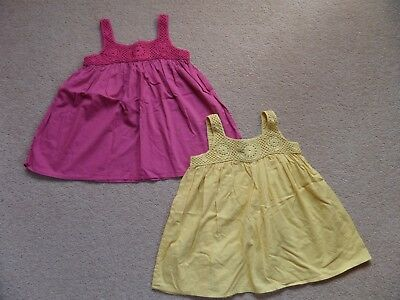 BEAUTIFUL 2 x Girl's MARKS & SPENCER Crochet Swing Tops Age 6-7 Cotton Summer