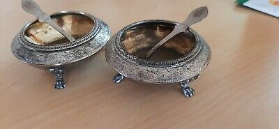 Antique Pair Of 1877 Victorian Silver Salts With Spoons