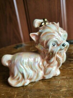 Yorkshire Terrier Yorkie Dog Cute Gold Bow Ceramic Figurine Madeline Las Vegas