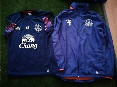 Everton player worn training shirt and hooded jacket. Squad number 58