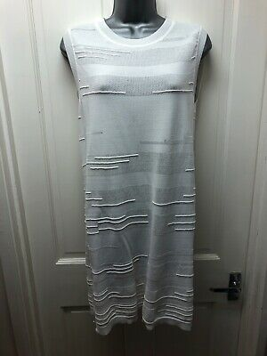 Next Top Size 12 Ivory White Sleeveless Long Tunic Side Split Textured Zip Back