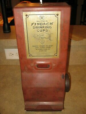 Rare One Cent Finback Drinking Cups Coin Operated Vending Machine