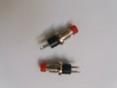 2 x Momentary Miniature SPST Round Button - Red