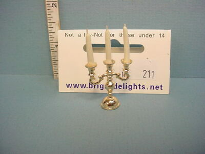 Miniature Gold Candelabra wi Candles #H211 Bright Delights 1//12th Scale
