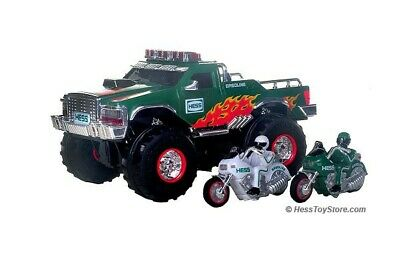 2007 Hess MONSTER TRUCK with MOTORCYCLES, Real Lights & Sounds **NIB**
