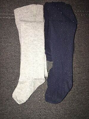 H&M Girls/Boys Tights Size 6-12 Months (EUR 74/80) Grey And Navy