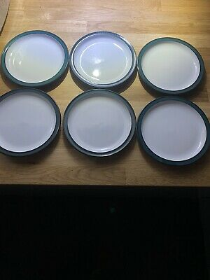 "6 of Denby Greenwich Green Side Plates, 17cm  6 3/4"" Vgc"