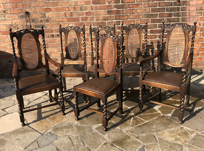 Antique Set Of 6 Solid Oak High Back Dining Chairs