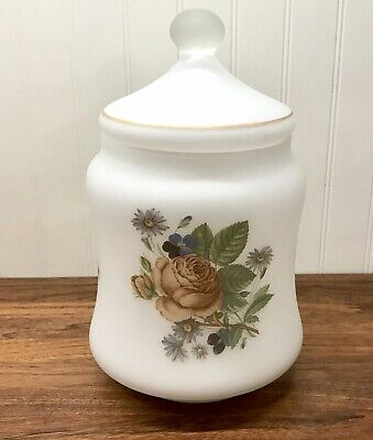 Vintage Frosted Glass Apothecary Vanity Jar w Roses EXCELLENT CONDITION