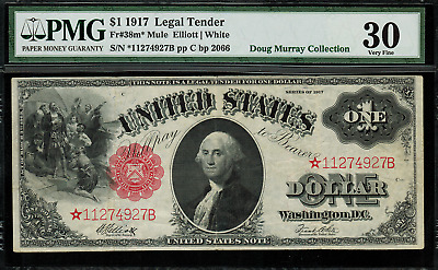 1917 $1 Legal Tender FR-38m* Mule - Sawhorse - STAR NOTE - Graded PMG 30 - VF