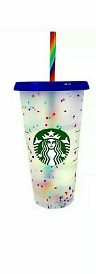 Starbucks Summer 2020 Confetti Color Changing Cup Rainbow Straw Pride Reusable