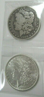 TWO (2) US MORGAN SILVER DOLLARS, Dated 1900-O (VG) and 1900-P (AU)!
