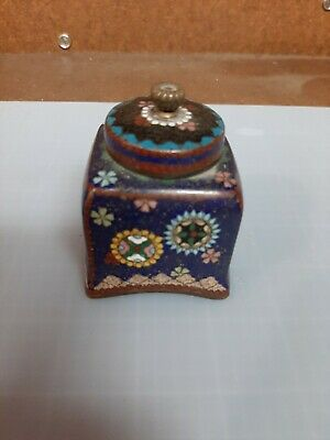 Antique Genuine Dark Blue Navy Cloisonne Box with Black Lid, Geometric Motif 3""