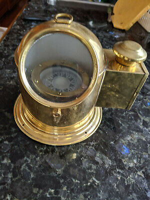 Vintage Brass Maritime Binnacle With Compass