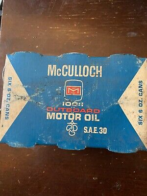 Vintage McCulloch 6oz. 100:1 Outboard Engine Oil SAE 30 6 Pack Box